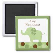 Mod Green Elephant Party Favor Magnets