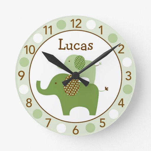Mod Green Elephant Personalized Nursery Wall Clock