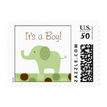 Mod Green Elephant Personalized Postage Stamps