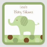 Mod Green Elephant Stickers Cupcake Toppers