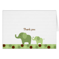 Mod Green Elephant Thank You Note Cards