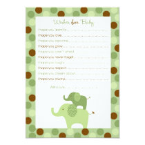 Mod Green Elephant Wishes for Baby Advice Card