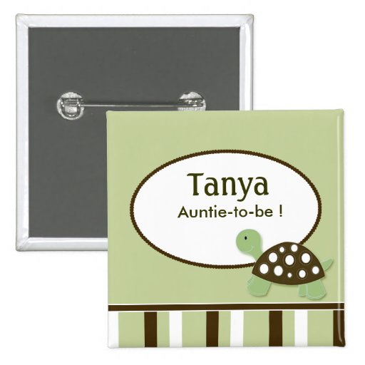 Mod Green Turtle Baby Shower Name Tag Button