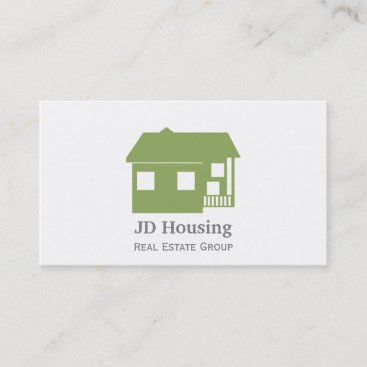 Mod Green White Classy Real Estate Businesscards Business Card