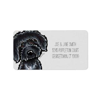 MOD gris del arte negro de Labradoodle Etiquetas De Dirección