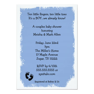 MOD Grunge Blue baby shower feet for boy Personalized Announcements