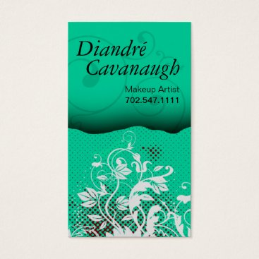 Professional Business Mod Grunge Floral Makeup Artist template Business Card