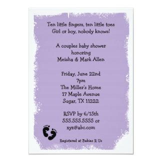 MOD Grunge purple baby shower feet neutral Card