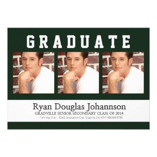 Mod Guy Grad Any Color 3 Photo Graduation Personalized Invite