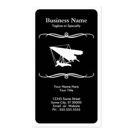 Black Modern Hang Glider Business Cards