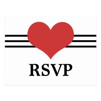Mod Heart RSVP Postcard, Red Postcard