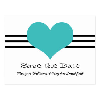 Mod Heart Save the Date Postcard, Aqua Postcard
