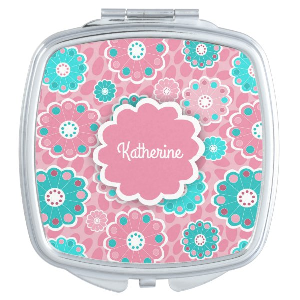 Mod hip floral pink and aqua vanity mirror