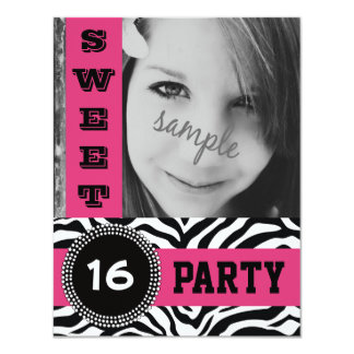 Mod Hot Pink Zebra Sweet 16 Party with Photo 4.25x5.5 Paper Invitation Card