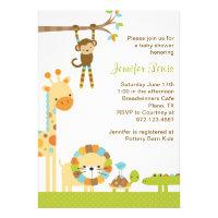 Mod Jungle Safari Baby Shower Invitation Personalized Invite