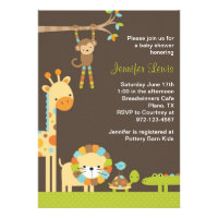 Mod Jungle Safari Baby Shower Invitation