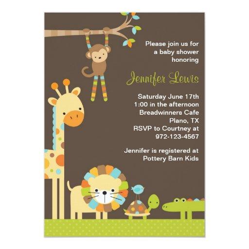"Safari Baby Shower Invitation: Mod Jungle Safari Baby Shower Invitation 5"" X 7"