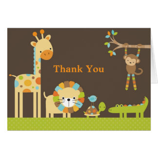 Mod Jungle Safari Baby Shower Note Card