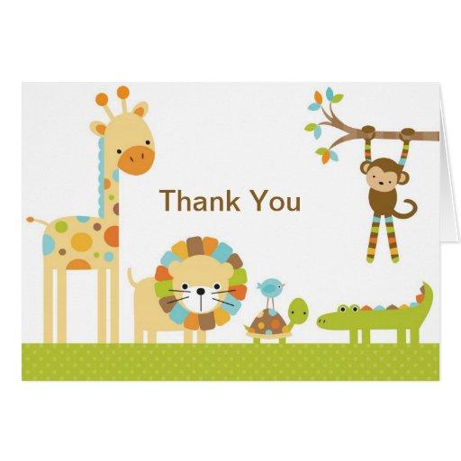 Mod Jungle Safari Baby Shower Note Card Card