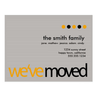 Mod  - Just Moved Striped Announcement Postcards