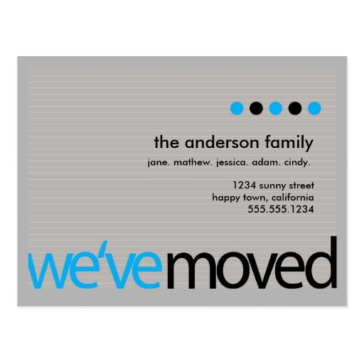 Mod  - Just Moved Striped Announcement Post Cards