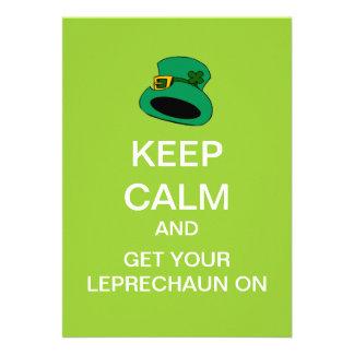 Mod Keep Calm and Leprechaun On Custom Invitation