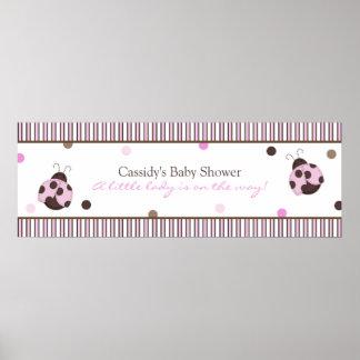 Mod Ladybug Baby Shower Banner Poster