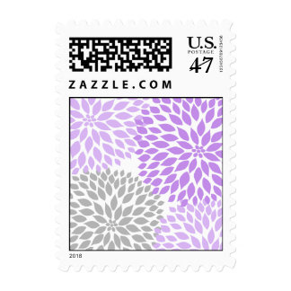 MOD Lavender and Gray Dahlia Bridal or Baby Shower Postage