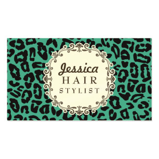 Mod Leopard Print Hair Stylist Appointment Cards Business Card