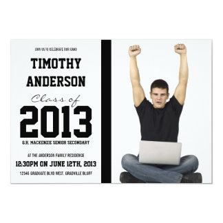 Mod Male Grad Bold Black Large Photo Graduation 5x7 Paper Invitation Card