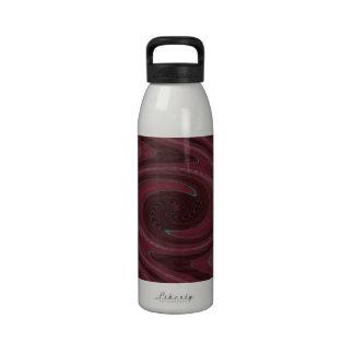 Mod Maroon Red Swirl Abstract Drinking Bottle