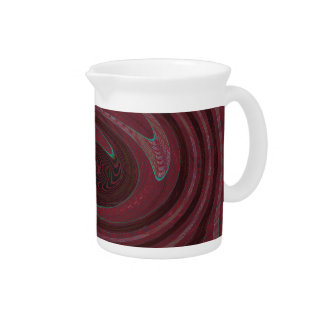 Mod Maroon Red Swirl Abstract Beverage Pitcher