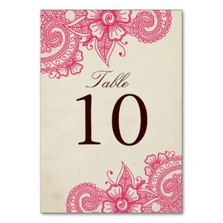 Mod Mehandi Table Number Card