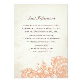 Mod Mehandi Wedding Information Insert Card