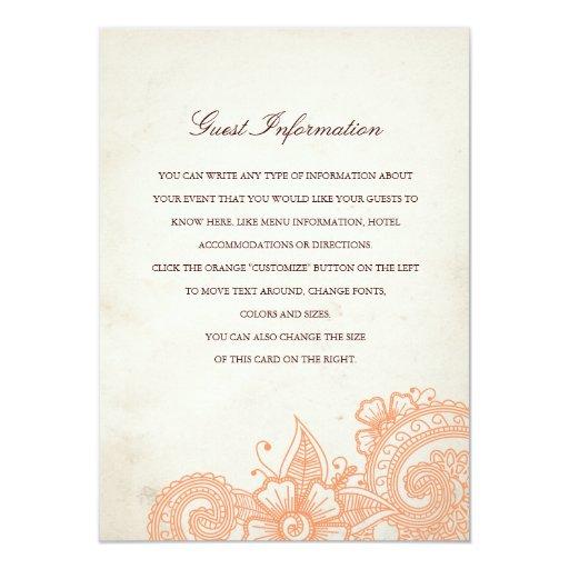"Mod Mehandi Wedding Information Insert Card 4.5"" X 6.25"