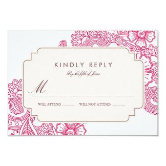 Mod Mehandi Wedding RSVP 3.5x5 Paper Invitation Card