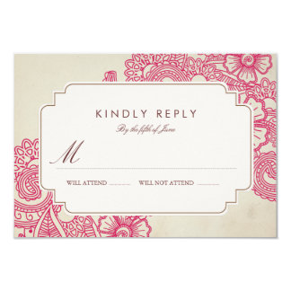 Mod Mehandi Wedding RSVP Card