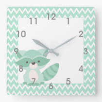 Mod Mint Chevron Raccoon Clock - nursery bedroom