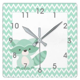 Mod Mint Chevron Raccoon Clock - nursery bedroom