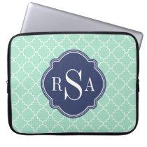 Mod Mint Green Trellis Blue Monogram Computer Sleeve