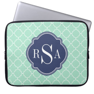 Mod Mint Green Trellis Blue Monogram Laptop Computer Sleeve
