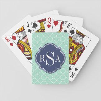 Mod Mint Green Trellis Blue Monogram Playing Cards