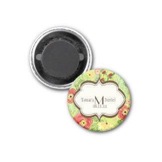 Mod Modern Floral Ranunculus Leaf Rose Bracket 1 Inch Round Magnet