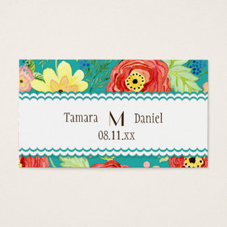 Mod Modern Floral Ranunculus Leaf Rose Bracket Business Card