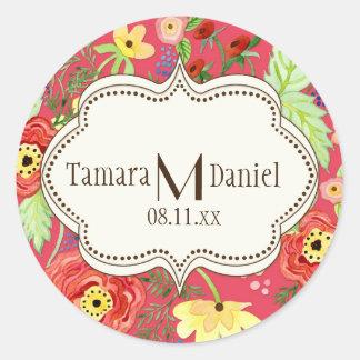 Mod Modern Floral Ranunculus Leaf Rose Bracket Classic Round Sticker