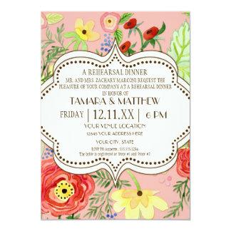 Mod Modern Floral Ranunculus Leaf Rose Bracket 5x7 Paper Invitation Card