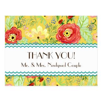 Mod Modern Floral Ranunculus Leaf Rose Bracket Postcard