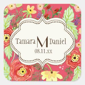 Mod Modern Floral Ranunculus Leaf Rose Bracket Square Sticker