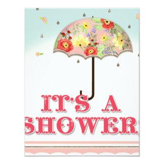 Mod Modern Floral Ranunculus Umbrella Baby Shower 4.25x5.5 Paper Invitation Card