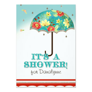 Mod Modern Floral Ranunculus Umbrella Baby Shower 5x7 Paper Invitation Card